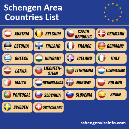 Schengen Area Visa Information For Schengen Countries