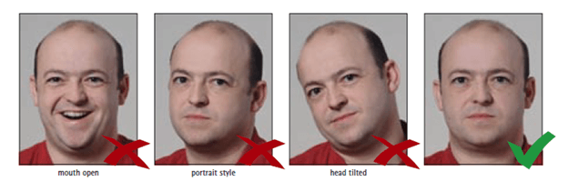 Schengen Visa Photo Requirements - Facial Expression and Head Position