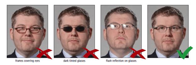 Schengen Visa Photo Requirements - Glasses