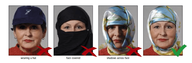 Schengen Visa Photo Requirements - Headwear