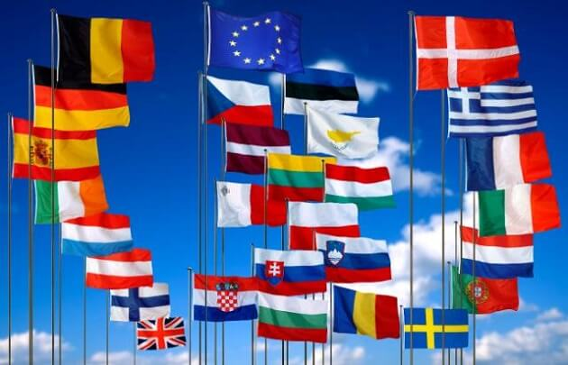 The flags of the European Union and the 28 member states
